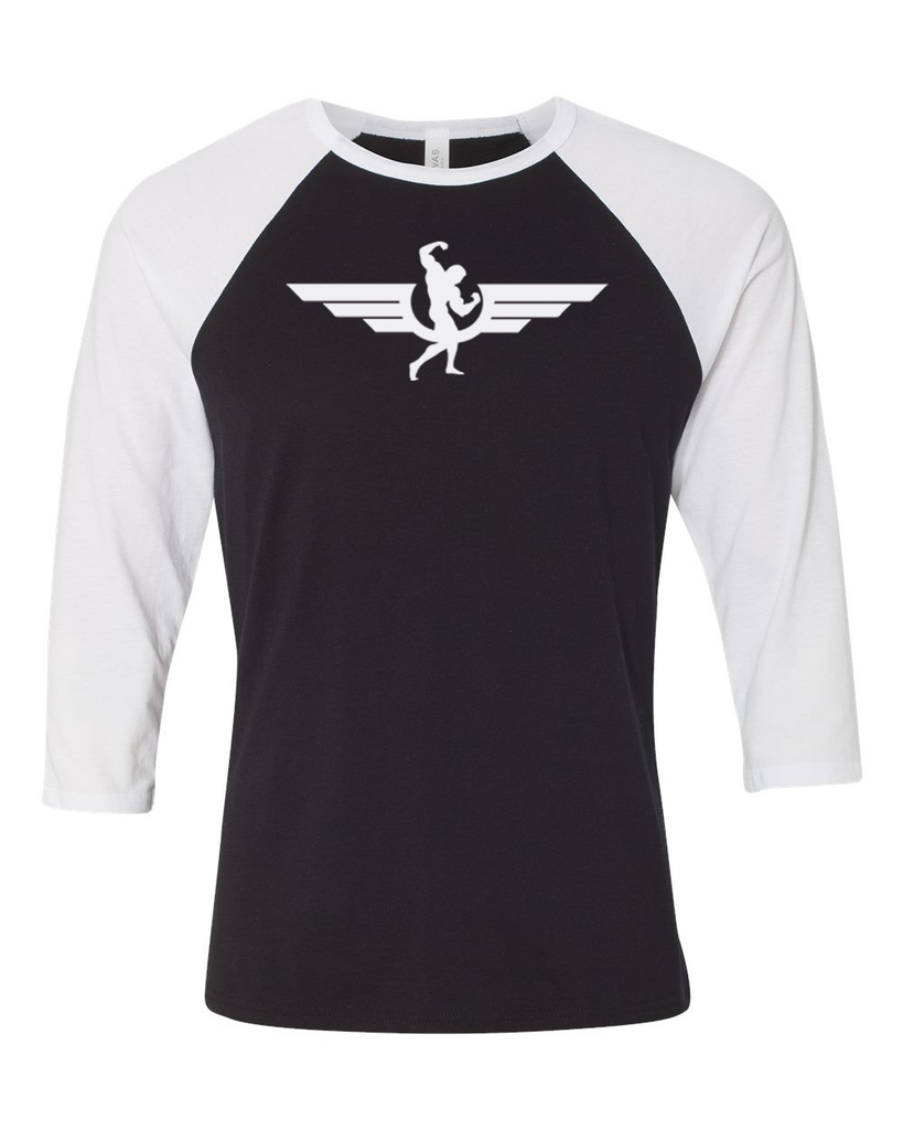 Swole Athletics Wing Logo Baseball T-shirt Black/White (Unisex) - Swole Athletics