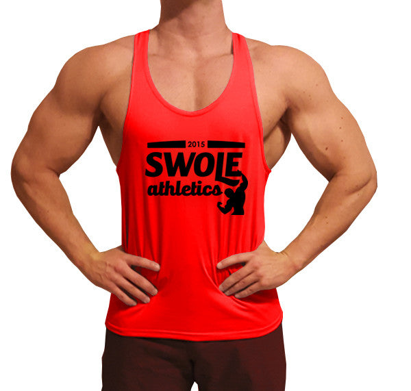 Cursive Logo Swole Athletics Black on Red Stringer (Men's) - Swole Athletics
