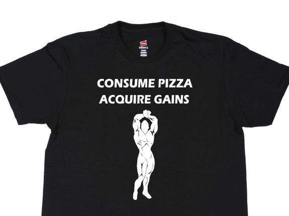 Consume Pizza Acquire Gains Black T-Shirt