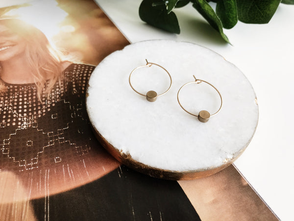 Emma Hoop Earrings (Brass Circle)