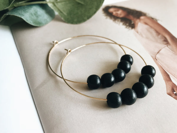 Sydney Hoop Earrings (Ebony Wood)
