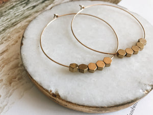 "Sydney 2"" Hoop Earrings (Brass Hexagon)"