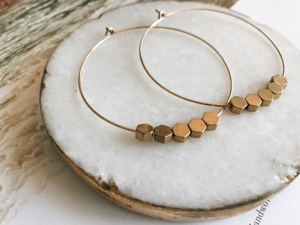 Sydney Hoop Earrings (Brass Hexagon)
