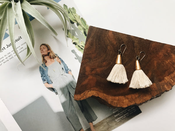 Bridget Tassel Earrings (Ivory)