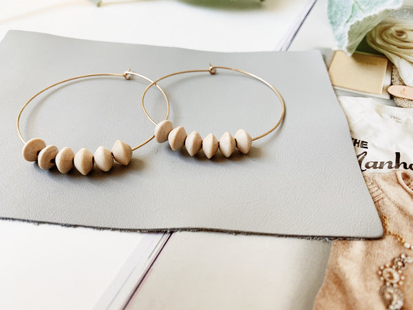 Sydney Hoop Earrings (Natural Bicone Wood, Mini)