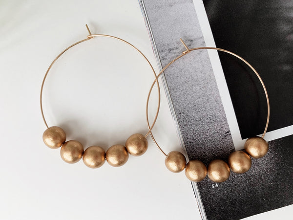 Sydney Hoop Earrings (Metallic Gold Wood)