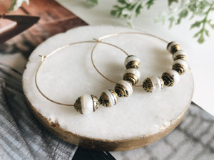 Sydney Hoop Earrings (Brass Capped Pearl)