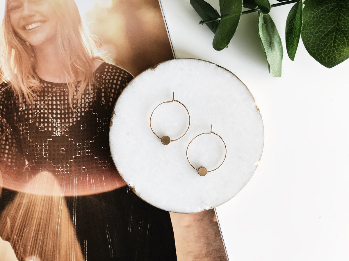 Natalie Borton Emma Hoop Earrings Brass Circle