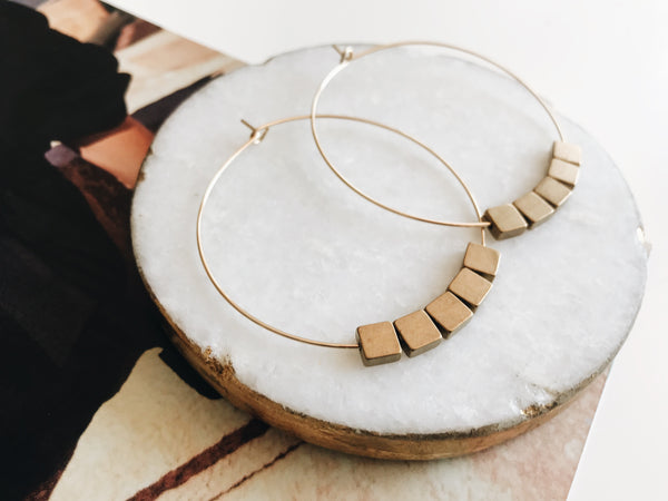 Sydney Hoop Earrings (Brass Square)