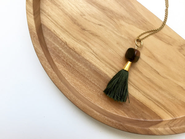 Penelope Tassel Necklace (Olive)