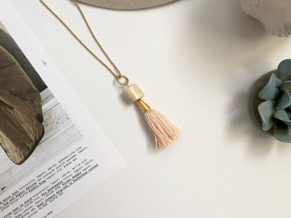 Amelia Tassel Necklace (Blush)