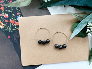 "Jaime 1.5"" Hoop Earrings (Black Jasper)"