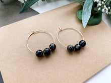 "Load image into Gallery viewer, Jaime 1.5"" Hoop Earrings (Black Jasper)"