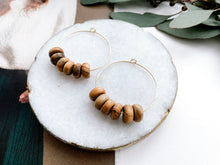 "Load image into Gallery viewer, Jaime 1.5"" Hoop Earrings (Olive Wood, Rondelle)"