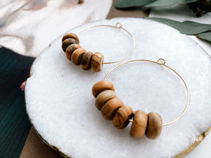 "Jaime 1.5"" Hoop Earrings (Olive Wood, Rondelle)"