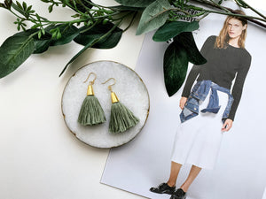 Bridget Tassel Earrings (Sage)