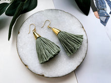 Load image into Gallery viewer, Bridget Tassel Earrings (Sage)
