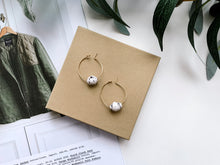 "Load image into Gallery viewer, Emma 1"" Hoop Earrings (Speckled White)"