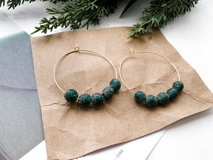 "Sydney 2"" Hoop Earrings (Emerald Recycled Glass)"