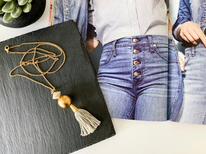 Emerson Tassel Necklace (Grey)