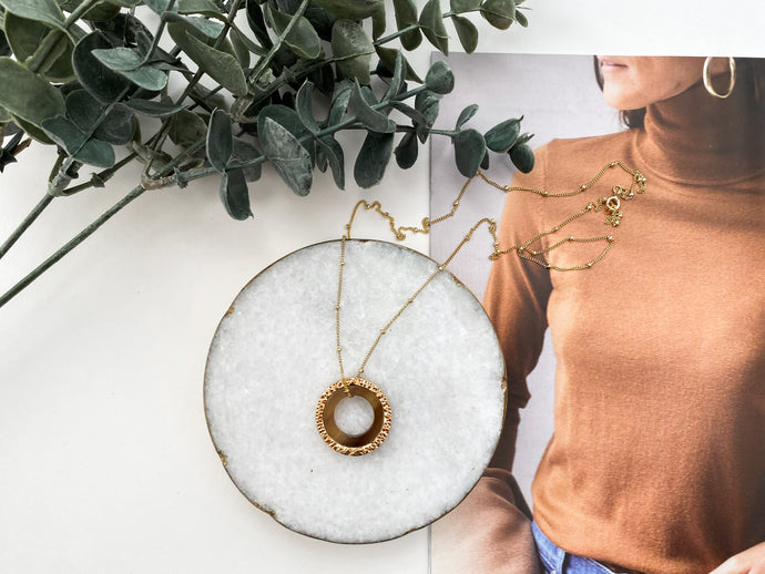 Vera Necklace (Recycled Brass + Horn)
