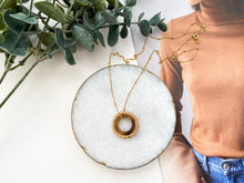 Load image into Gallery viewer, Vera Necklace (Recycled Brass + Dark Horn)
