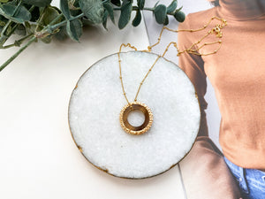 Vera Necklace (Recycled Brass + Dark Horn)