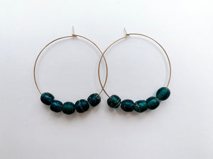 "PERFECTLY IMPERFECT Sydney 2"" Hoop Earrings (Emerald Recycled Glass)"