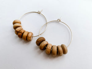 "PERFECTLY IMPERFECT Jaime 1.5"" Hoop Earrings (Olive Wood, Rondelle)"