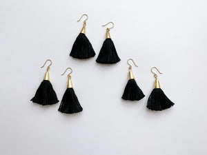 PERFECTLY IMPERFECT Bridget Tassel Earrings (Black)