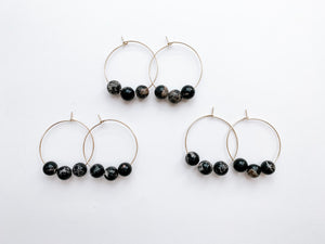 "PERFECTLY IMPERFECT Jaime 1.5"" Hoop Earrings (Black Jasper)"