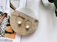 Load image into Gallery viewer, Emma Hoop Earrings (White Wood)