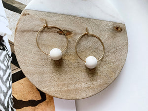 Emma Hoop Earrings (White Wood)