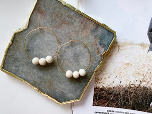 Jaime Hoop Earrings (White Wood)