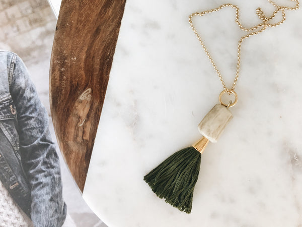 Amelia Tassel Necklace (Forest Green)