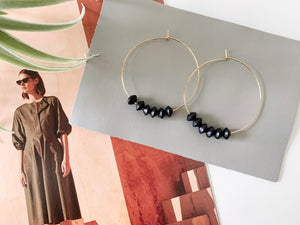 Sydney Hoop Earrings (Black Bicone Wood, Mini)