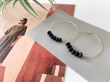 Load image into Gallery viewer, Sydney Hoop Earrings (Black Bicone Wood, Mini)