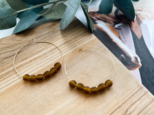 "Load image into Gallery viewer, Sydney 2"" Hoop Earrings (Amber Recycled Glass)"