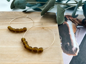 "Sydney 2"" Hoop Earrings (Amber Recycled Glass)"
