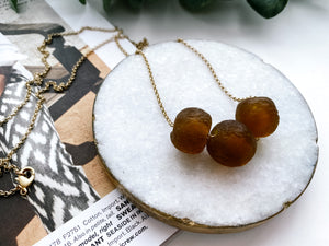 Camille Necklace (Amber Recycled Glass)