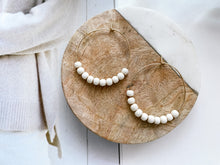 "Load image into Gallery viewer, Jaime 1.5"" Hoop Earrings (Mini White Wood)"