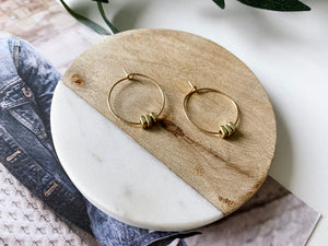 Emma Hoop Earrings (Mini Brass Squares)