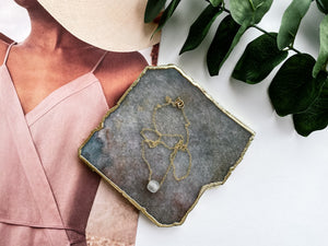 Elodie Necklace (Light Grey Recycled Glass)