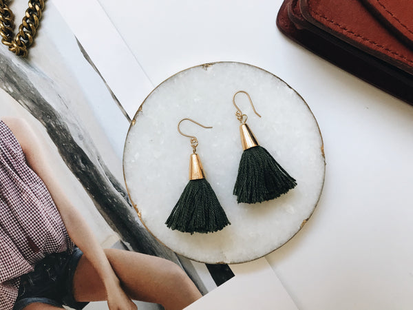 Bridget Tassel Earrings (Olive)