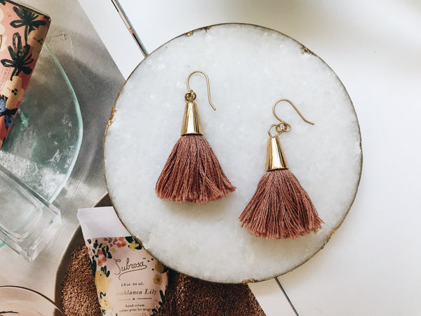 Bridget Tassel Earrings (Dusty Rose)