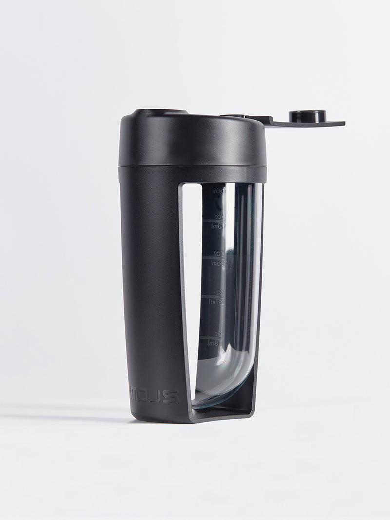 fitness bottle and supplement shaker by mous in black colour