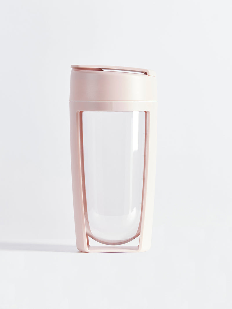 fitness bottle and supplement shaker by mous in blush colour
