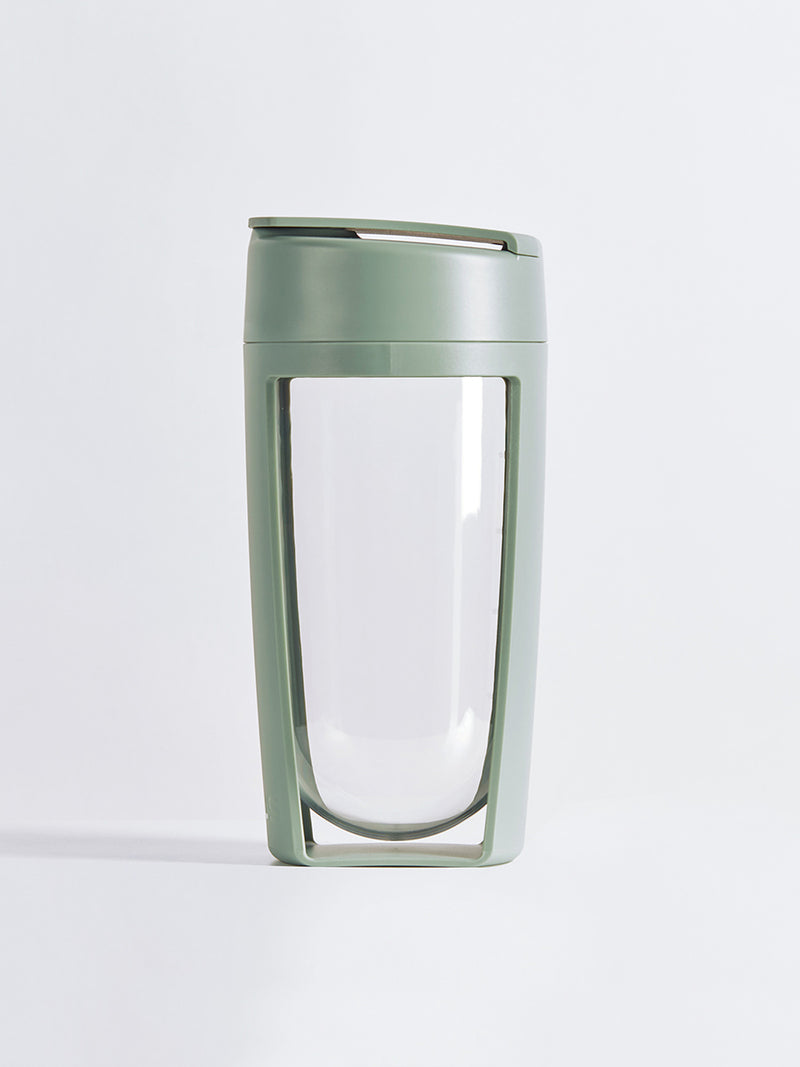 fitness bottle and supplement shaker by mous in moss colour