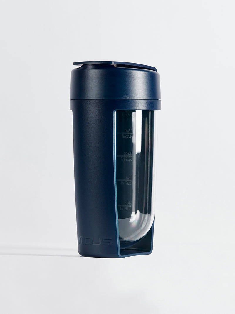 fitness bottle and supplement shaker by mous in navy colour