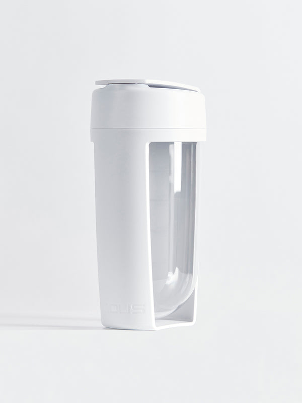fitness bottle and supplement shaker by mous in white colour